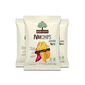 Batata Doce + Mandioquinha + Batata Vegano, Orgânico NuChips Mãe Terra contento 3 pacotes de 32g cada