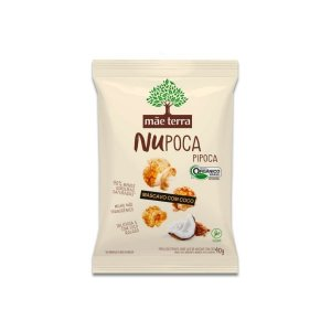 Pipoca com Açúcar Mascavo e Coco NuPoca Vegana, Orgânica Mãe Terra 40g