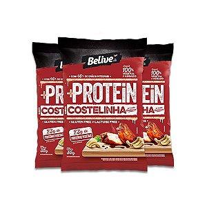 Snack +Protein Costelinha ao Barbecue Zero Glúten, Zero Lactose Belive contendo 3 pacotes de 35g cada