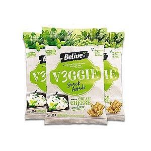 Snack V3ggie Cream Cheese com Ervas Zero Glúten, Zero Lactose Veggie Belive contendo 3 pacotes de 35g cada