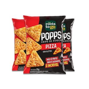 Popps Chips De Pipoca Pizza Sem Glúten Roots To Go contendo 3 pacotes de 35g cada