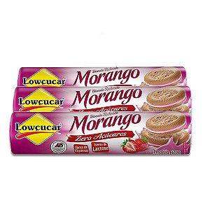 Biscoito Recheado Morango Zero Lactose, Zero Açúcar Lowçucar contendo 3 pacotes de 120g cada