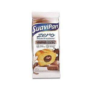 Bolinho Zero Açúcar Baunilha Recheado Com Chocolate Suavipan 40g