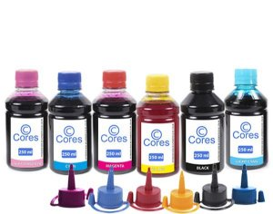 Kit 6 Tintas para Epson L850 EcoTank 250ml Cores