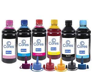 Kit 6 Tintas para Epson L850 EcoTank 500ml Cores