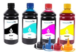 Kit 4 Tintas para Hp, Epson, Canon e Lexmark 500ml Inova Ink