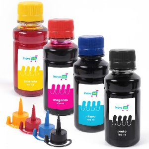 Kit 4 Refil Tinta Para Epson Ecotank L120 L200 L4160 L220 L365 L375 L380 L395 400ml Inova Ink
