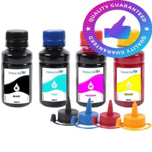 Kit 4 Refil Tinta Para Epson L120 L200 L210 L220 L355 L365 L375 L380 L395 400ml Inova Ink