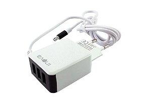 Carregador Rápido 4.1A 3 Saídas USB V8 para Smartphones