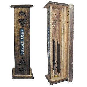 Incensário torre de madeira com Strass e Espelhos peruano