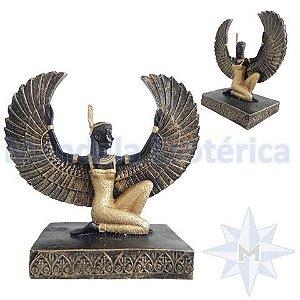 Egípcio Deusa Ísis Preta Com Dourado