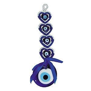 Móbile com 4 Corações e Olho Grego de vidro
