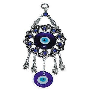 Móbile na forma de Mandala de metal com 2 Olhos Gregos de vidro