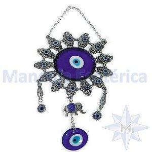 Móbile na forma de Mandala com Elefante de metal e Olho Grego de vidro