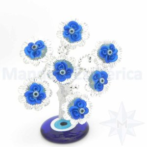 Árvore Base de Olho Grego Flor Azul