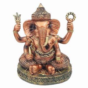 Deus Hindu Ganesha Prosperidade Esmaltado Em Resina