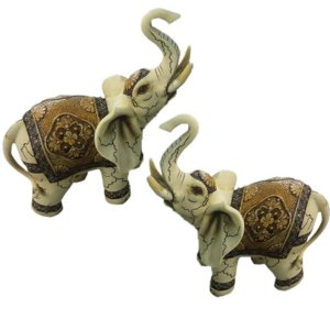 Kit com 2 Elefantes craquelados