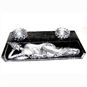 Buda deitado com 2 porta velas