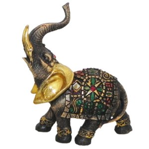 Elefante colorido de resina espelhado