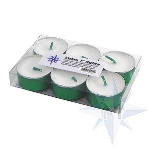 Vela Tlight Branca Com Base Verde Com 6
