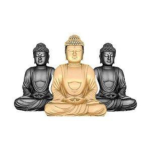 Trio de Buda em MDF