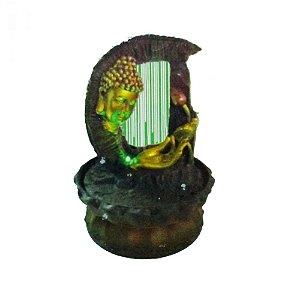 Fonte Buda dourado com Lírio Harpa d'água com Luz Bivolt