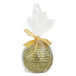 Vela Natalina Bola Dourada com Purpurina