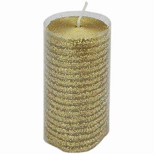 Vela natalina Dourada com Purpurina