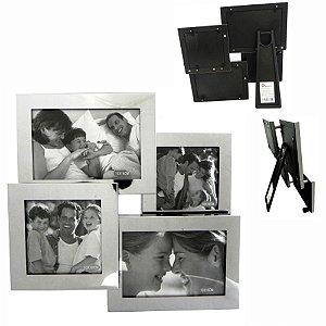Porta retrato Inox de Mesa para 4 fotos