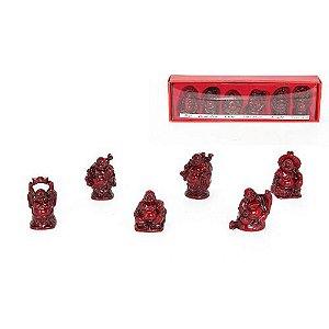 Caixa com 6 Budas da sorte marrom em resina