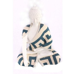 Buda em resina branca com tecido meditação