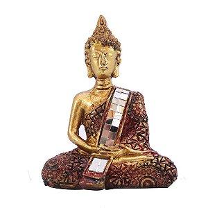 Buda Dourado com detalhes em vermelho e acabamento com espelho