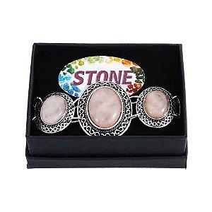 Pulseira com Pedra Quartzo Rosa formato oval