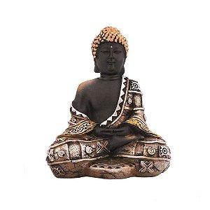 Buda preto pintado com detalhes marrom e prata