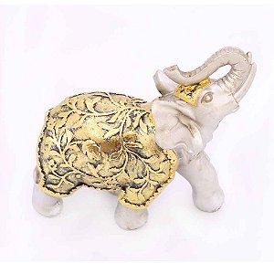 Elefante Prata e Dourado Floral Grande
