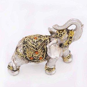 Elefante Ouro velho com Strass Laranja