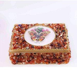 Caixa de Madeira com Pedras , Artesanal