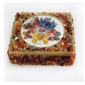 Caixa de Madeira com Pedras artesanal