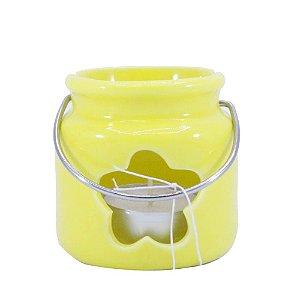 Porta Vela de Cerâmica Amarelo