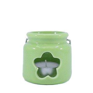 Porta Vela de Cerâmica Verde