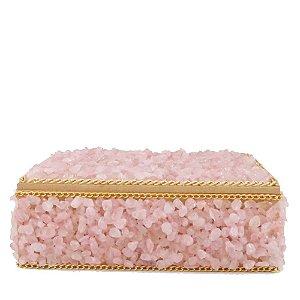 Caixa de Madeira com Pedras Artesanal Rosa