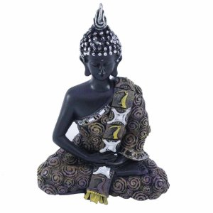 Buda em Resina Meditando com detalhes em dourado envelhecido
