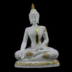 Buda sentado de Resina com Pó de Mármore