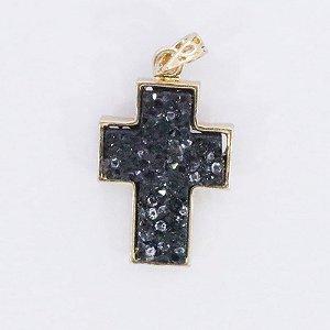 Pingente de cruz  com Pedra Onix em Drusa
