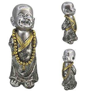 Buda Mantra em resina - Prata com Dourado - A