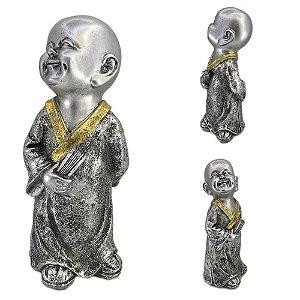 Buda Mantra em resina - Prata com Dourado - B