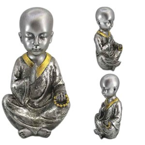 Monge Mantra Prata em resina - B