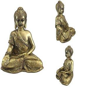 Buda sentado em resina - Dourado B