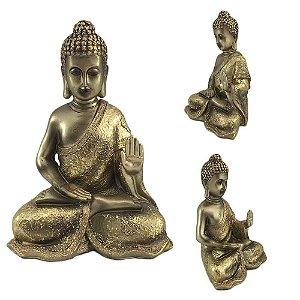 Buda sentado em resina - Dourado A