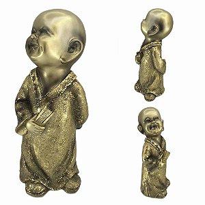 Buda Mantra em resina - Dourado - A